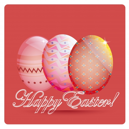 three colored easter eggs with different textures and some text Vector