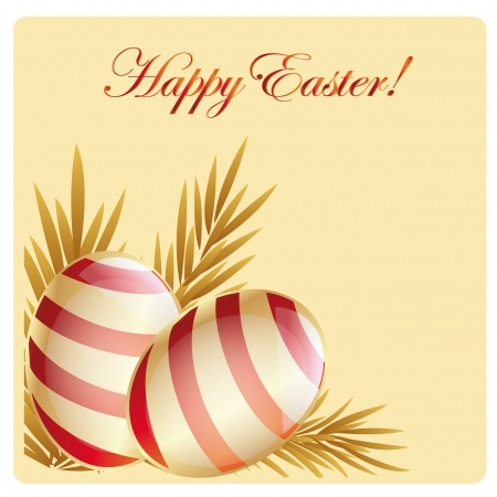 golden daisy: a pair of red striped easter eggs with some wheat and text Illustration