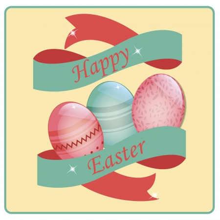 three colored easter eggs with a ribbon and some text Vector