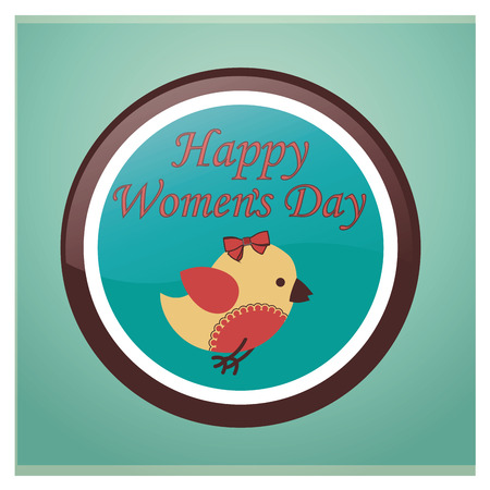 a bird within an icon with text for the womens day Vector
