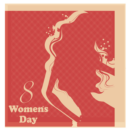 a colored silhouette and text for womens day Vector