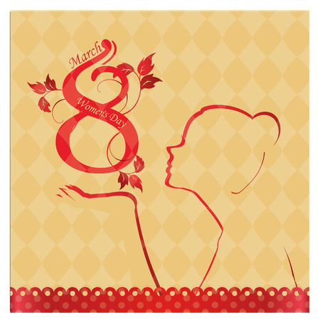 a red silhouette with some text for womens day Vector