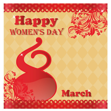 a red text within a yellow background for womens day Vector