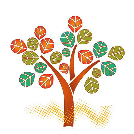 a colored tree with colored leaves in white background Vector
