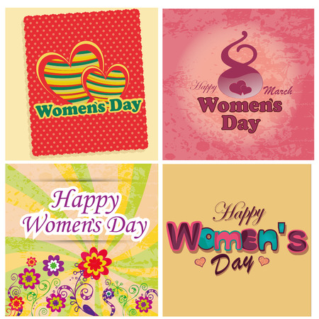 a lot of different designs and text for womens day Vector