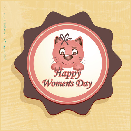 a pink cat icon for womens day Vector