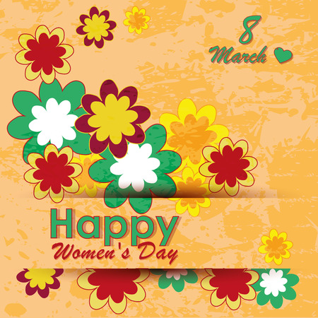 colored flowers and text for women's day Stock Illustratie