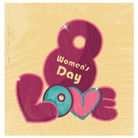 colored text in yellow background for womens day Vector