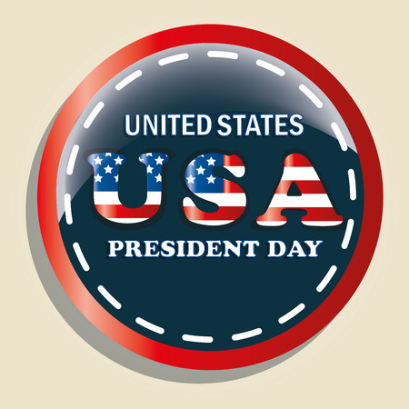 a colored round icon with some text for presidents day Vector