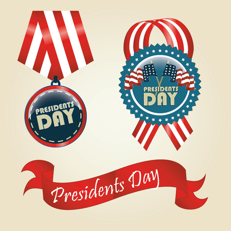 ribon: three different colored icons with text for presidents day