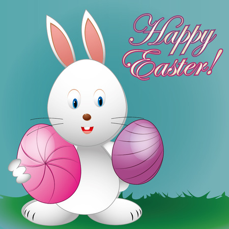 a happy rabbit with a pair of eggs and text for easter Vector