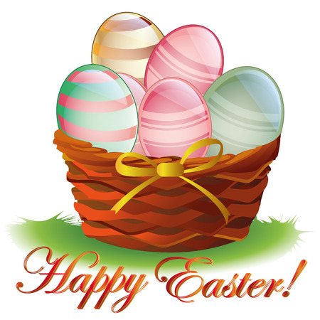 a basket with a golden ribbon and a lot of textured eggs for easter Vector