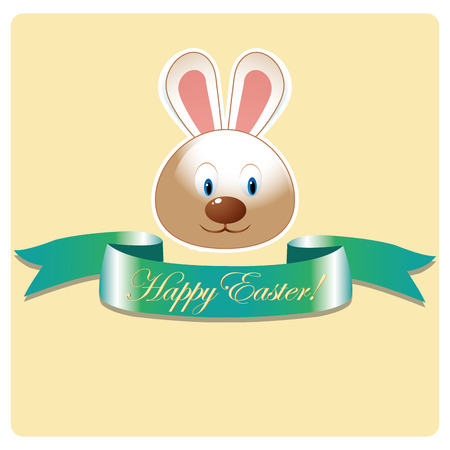 a happy rabbit with a green ribbon with some text for easter Vector