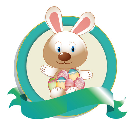 a blue icon with a ribbon, rabbit and some eggs for easter Vector