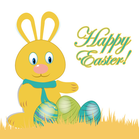 a happy yellow rabbit with some eggs and text for easter Vector