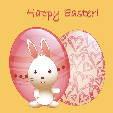 a happy rabbit with a pair of textured eggs and text for easter Vector