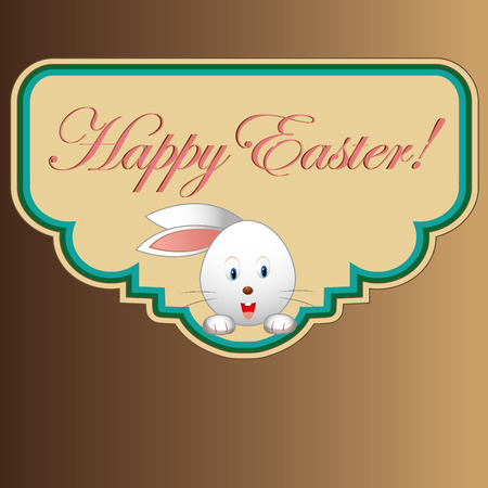 a white rabbit in a colored icon with text for easter Vector
