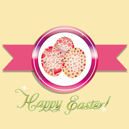 a pink icon with some eggs and a ribbon for easter Vector