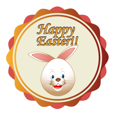 a colored icon with some text and a rabbit for easter Vector