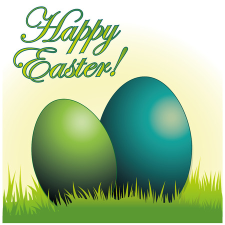 a pair of eggs in the grass and some text for easter Vector