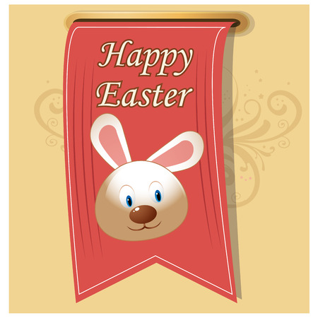 a ribbon with some text and a rabbit for this easter Vector