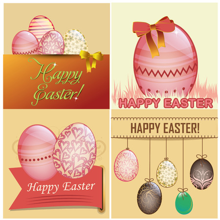 four different backgrounds with some text and eggs for easter Vector