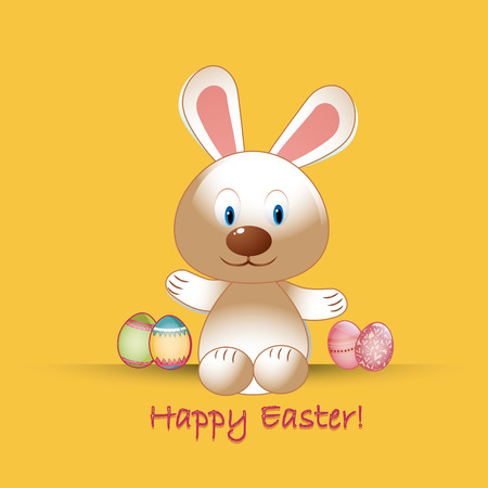 a happy rabbit with some eggs with textures and text for easter Vector