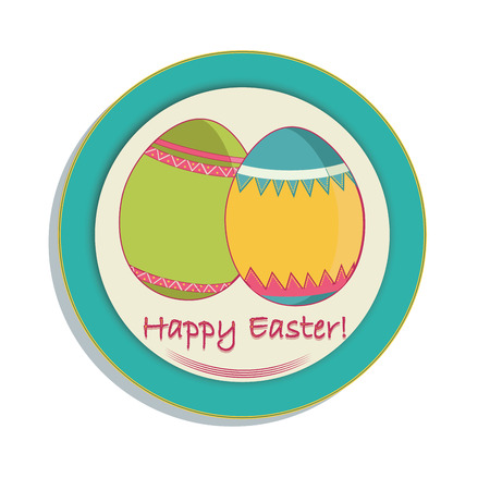 a pair of eggs with textures and some text within an icon for easter Vector
