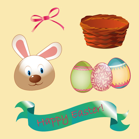 a lot of easter related elements in yellow background Vector