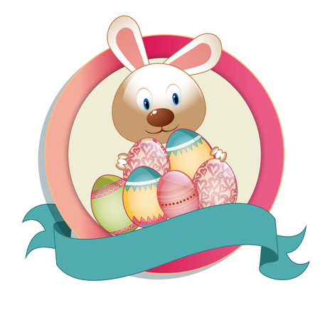 a pink icon with a rabbit and some eggs for this easterq Vector
