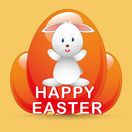 a happy rabbit and some eggs and text for easter Vector