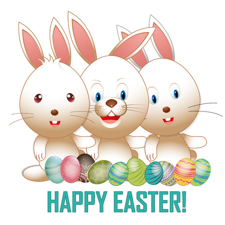 three happy rabbits with a lot of textured eggs and text for easter Vector