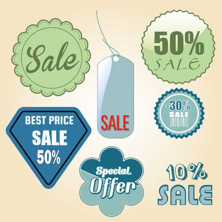a lot of different icons with colors and text for sales purposes Vector