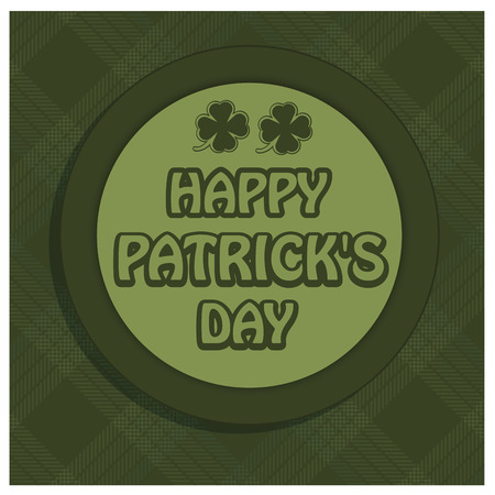 a green icon with some text in a textured background for patrick's day Vector