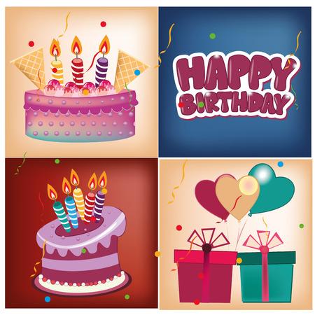 cuatro fondos diferentes para cumpleaños con las tortas, el texto y los regalos