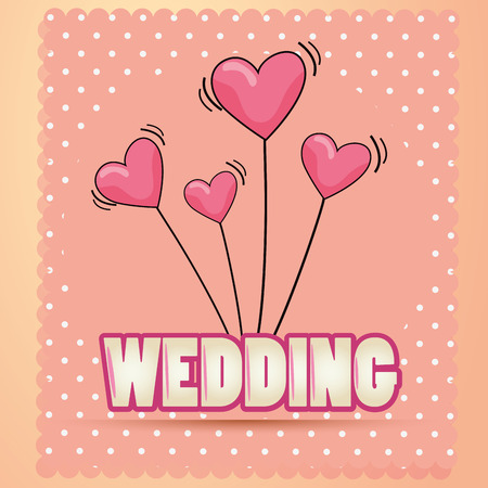 some text with pink heart balloons for a wedding Vector