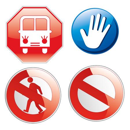 se�ales trafico: cuatro se�ales de tr�fico diferentes, con diferentes elementos