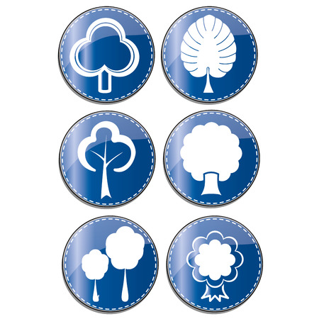 iconography: six blue icons with white silhouettes of different trees Illustration