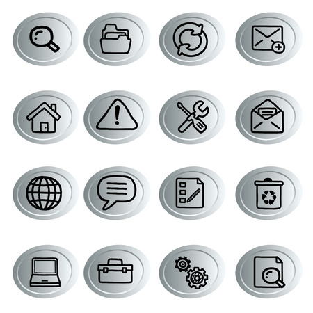 iconography: sixteen green icons with black silhouettes of different objects