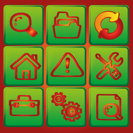 iconography: nine green icons with red silhouettes of different objects