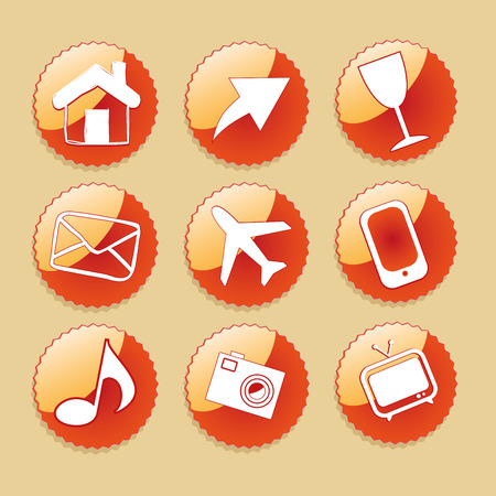 nine orange icons with white silhouettes of different objects Vector