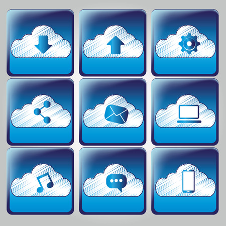 nine blue icons with white silhouettes for cloud computing Vector