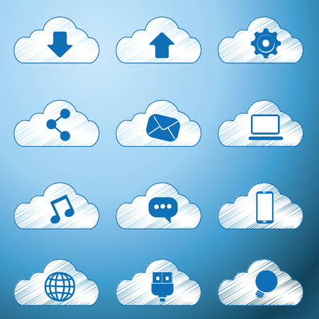 twelve cloud icons with different objects for web purposes Vector