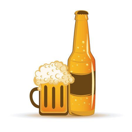 a bottle of beer and a glass with beer and foam Vector
