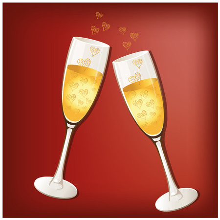 a couple of glasses with beer and some bubbles with heart shapes Vector