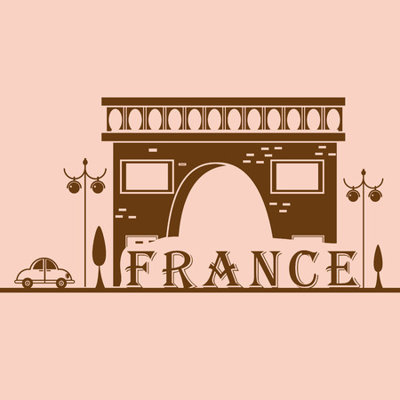a brown silhouette of a classic french building Vector