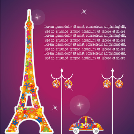 a purple background with a colored eiffel tower, lamps and a car Vector