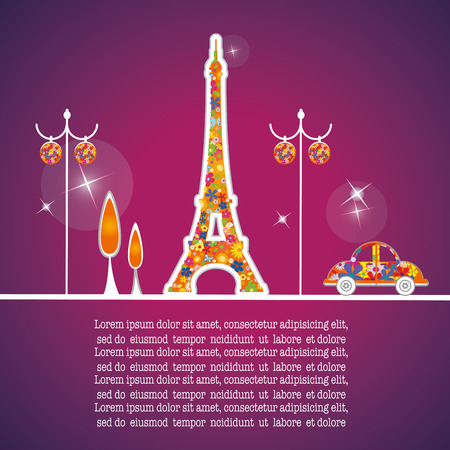 a purple background with eiffel tower, lamps and a car Vector