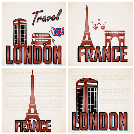 four different backgrounds with some classic buildings and text Vector