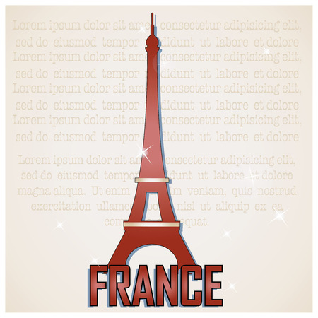 a brown silhouette of the eiffel tower and some text Vector